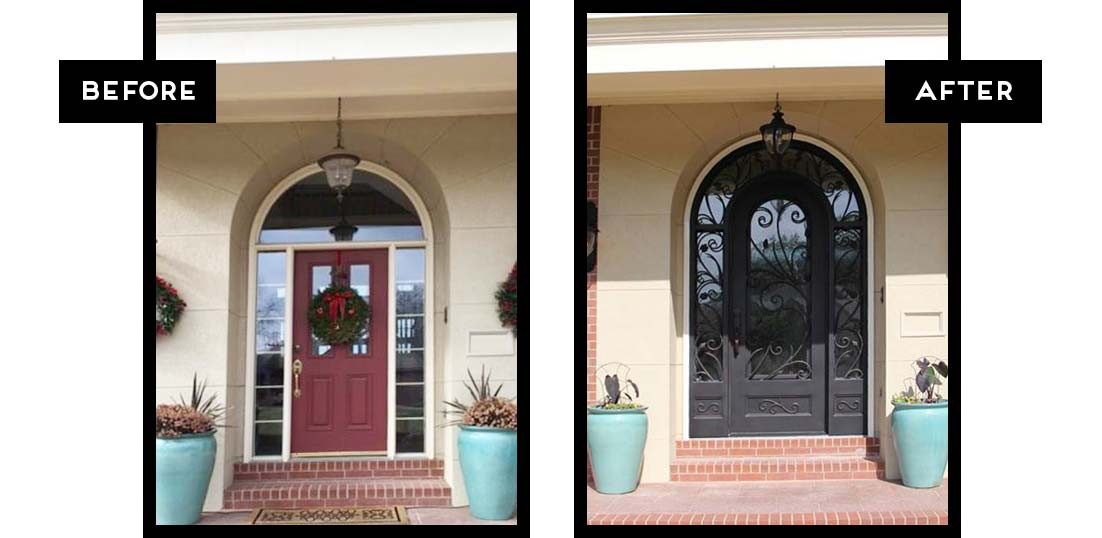 Front Door Replaced With A Stunning Double Entry Custom Iron Door.